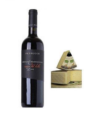 Italiaanse houtgerijpte rode wijn met oude brokkel kaas