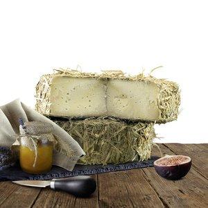 Italiaanse kaas omwikkeld met stro gerijpt in grot - La Grotta
