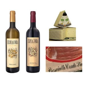 Italiaans cadeaupakket - borrelbox met witte en rode wijn ham en kaas