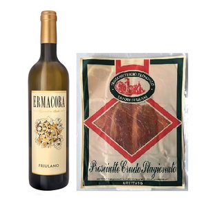 Italiaans cadeaupakket witte wijn met ham San Daniele